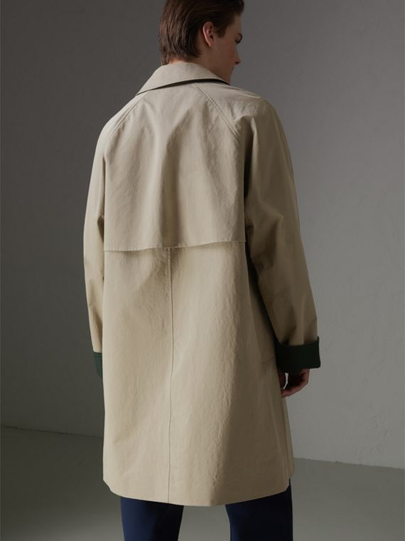 Reissued Waxed Cotton Gabardine Car Coat in Khaki - Men | Burberry - cell image 2
