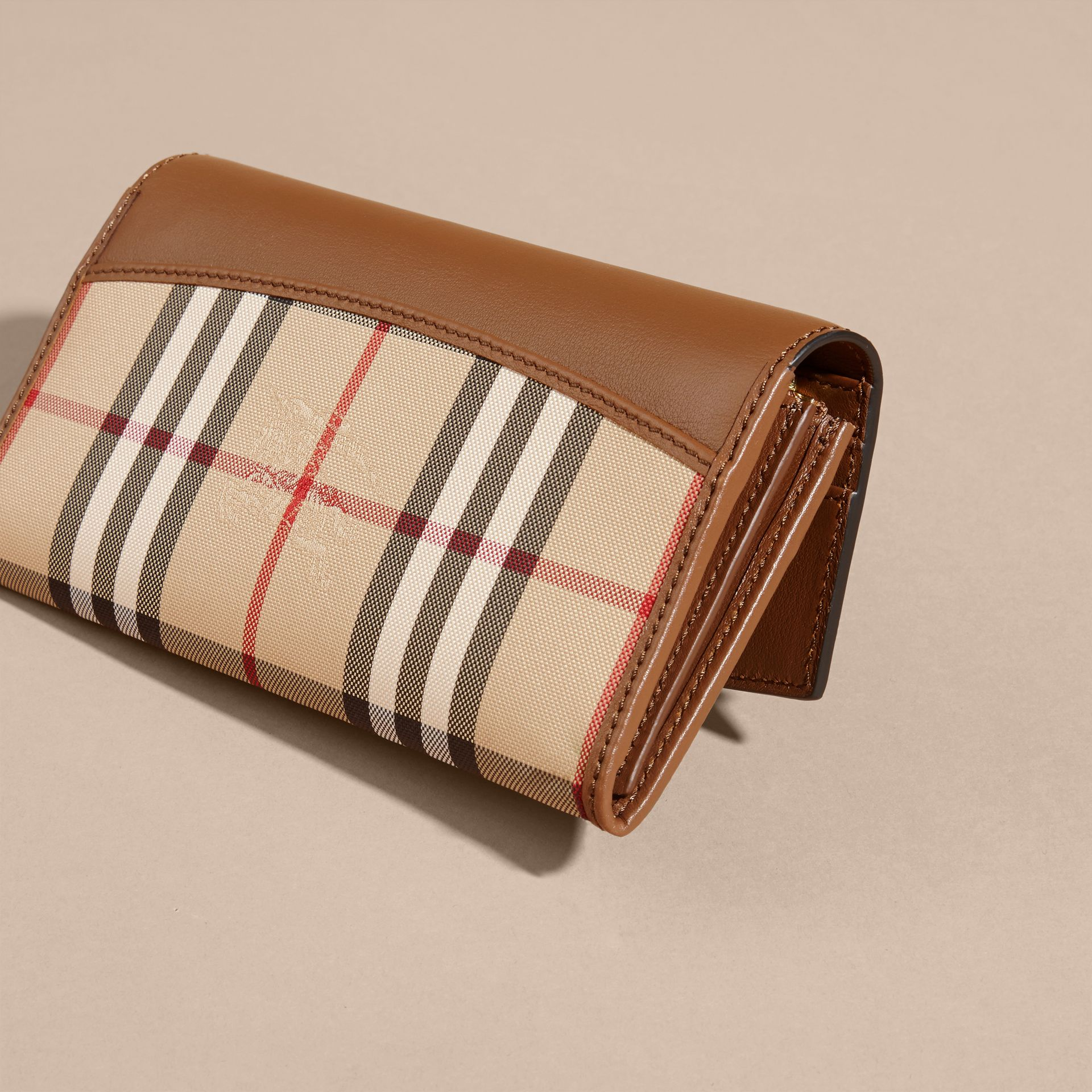 Tan Horseferry Check and Leather Continental Wallet Tan - gallery image 4