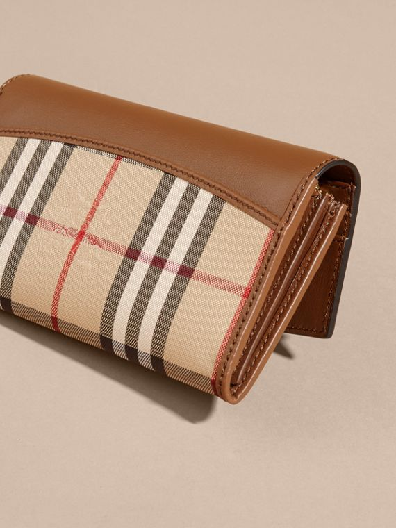 Horseferry Check and Leather Continental Wallet in Tan - Women | Burberry - cell image 3