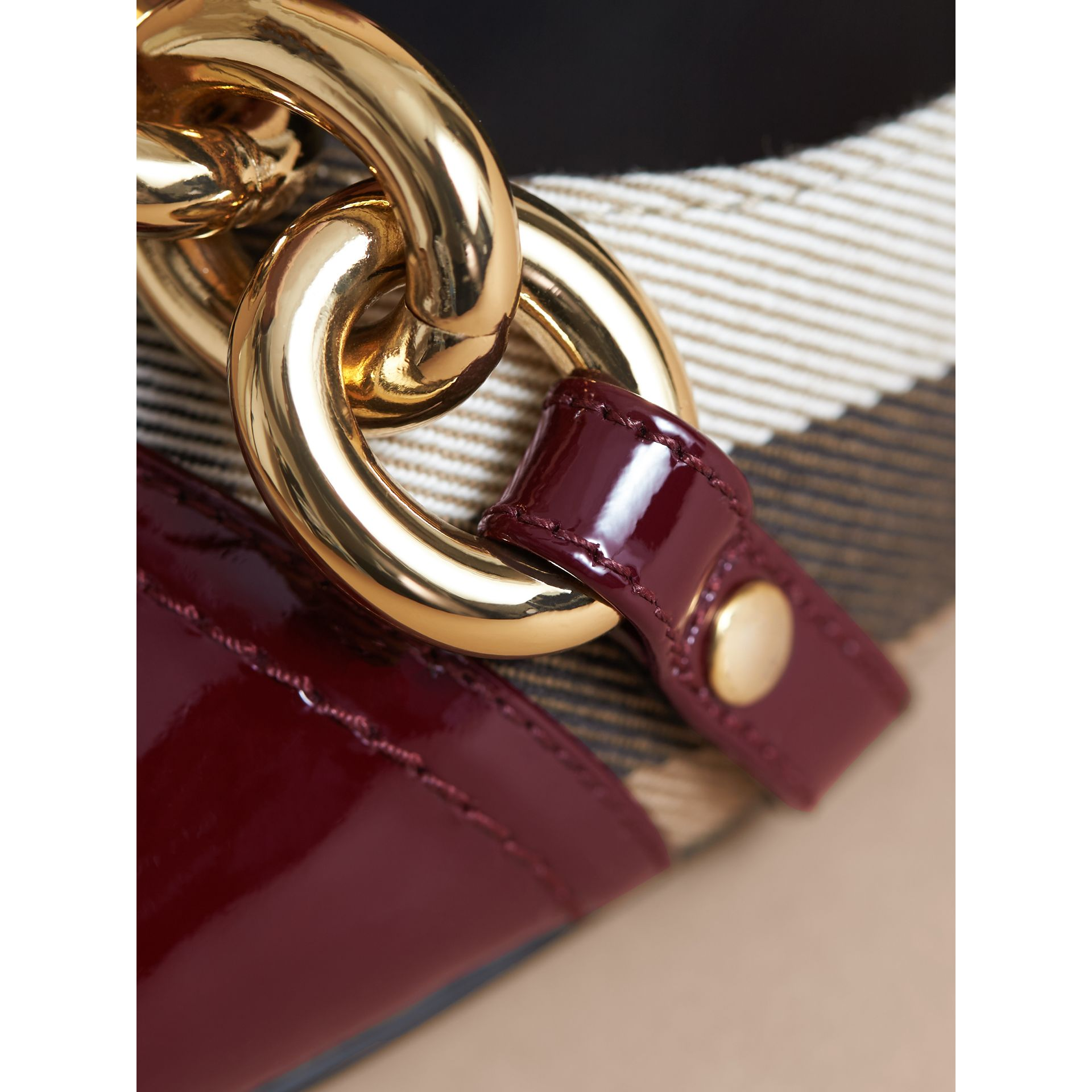 Chain Detail House Check and Patent Leather Ballerinas - gallery image 2