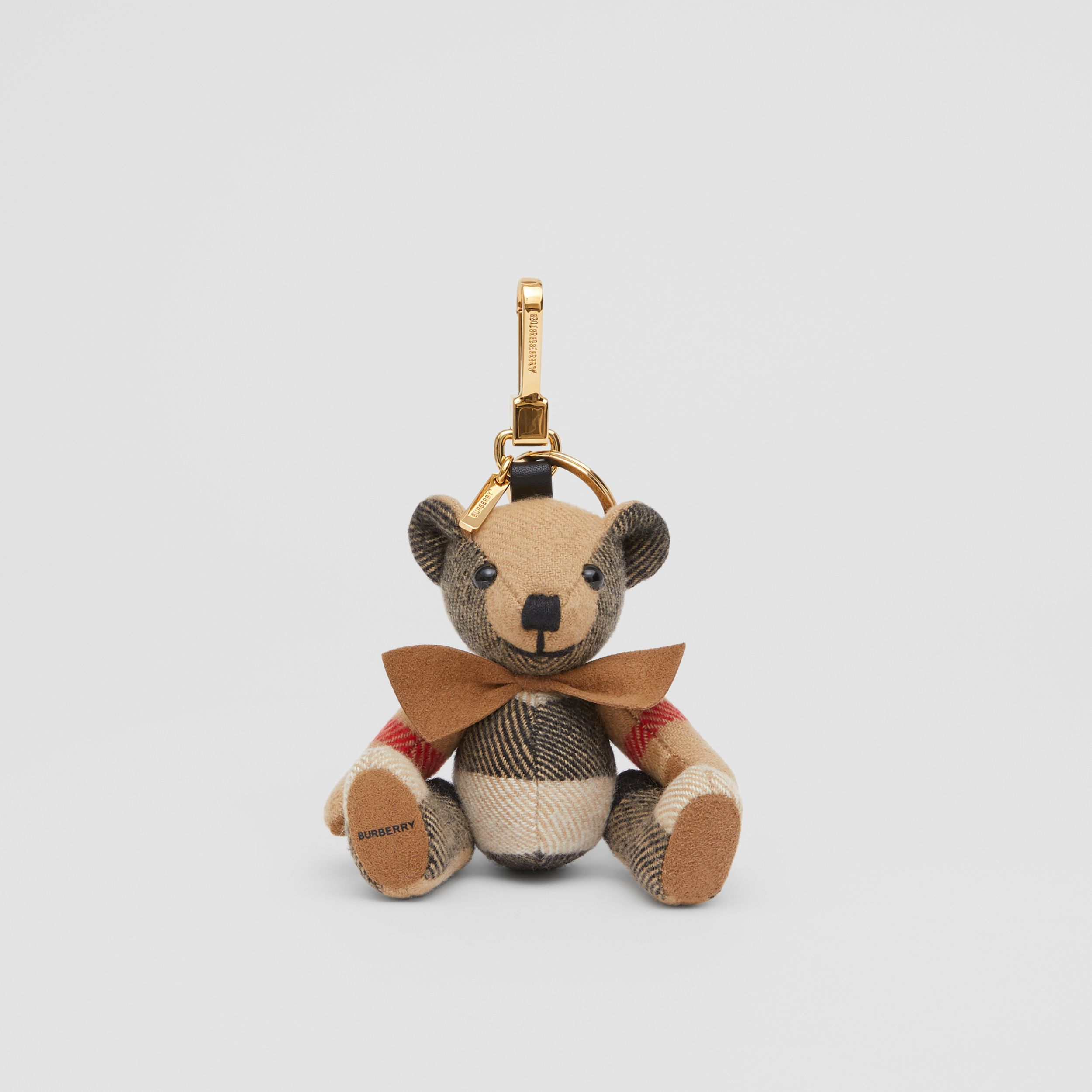 Thomas Bear Charm with Bow Tie in Archive Beige - Women | Burberry - 1