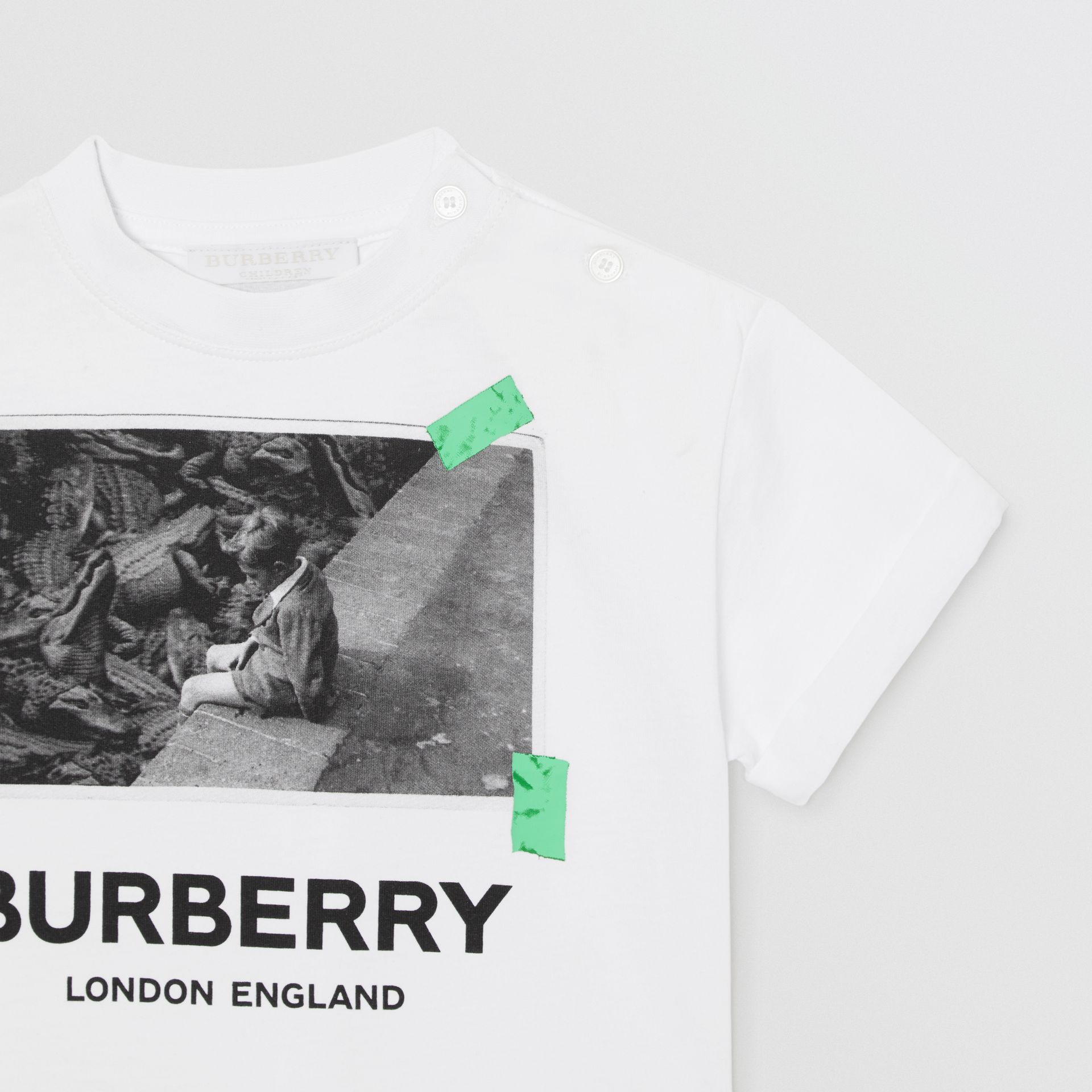 Vintage Photo Print Cotton T-shirt in White - Children | Burberry - gallery image 4