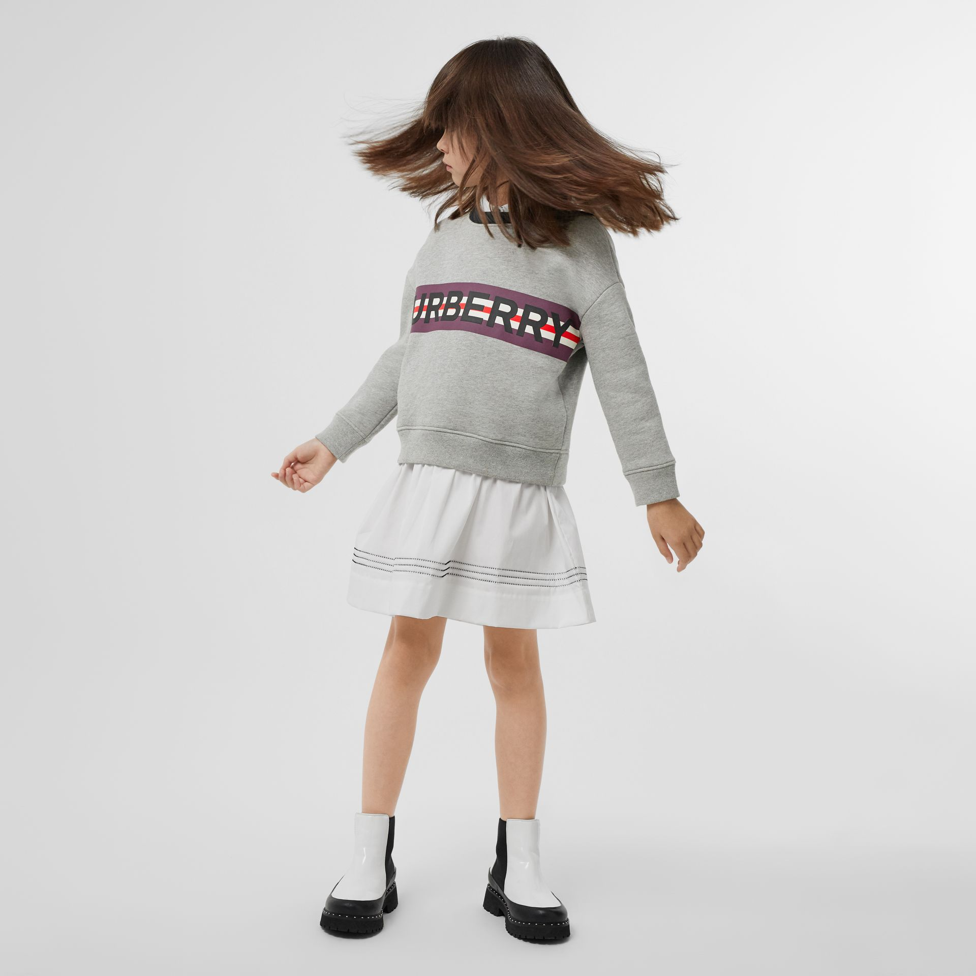 Logo Print Jersey Sweatshirt in Grey Melange | Burberry United Kingdom - gallery image 2