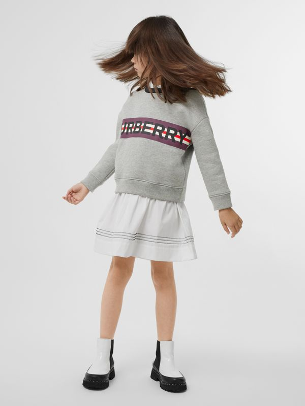 Logo Print Jersey Sweatshirt in Grey Melange | Burberry United Kingdom - cell image 2