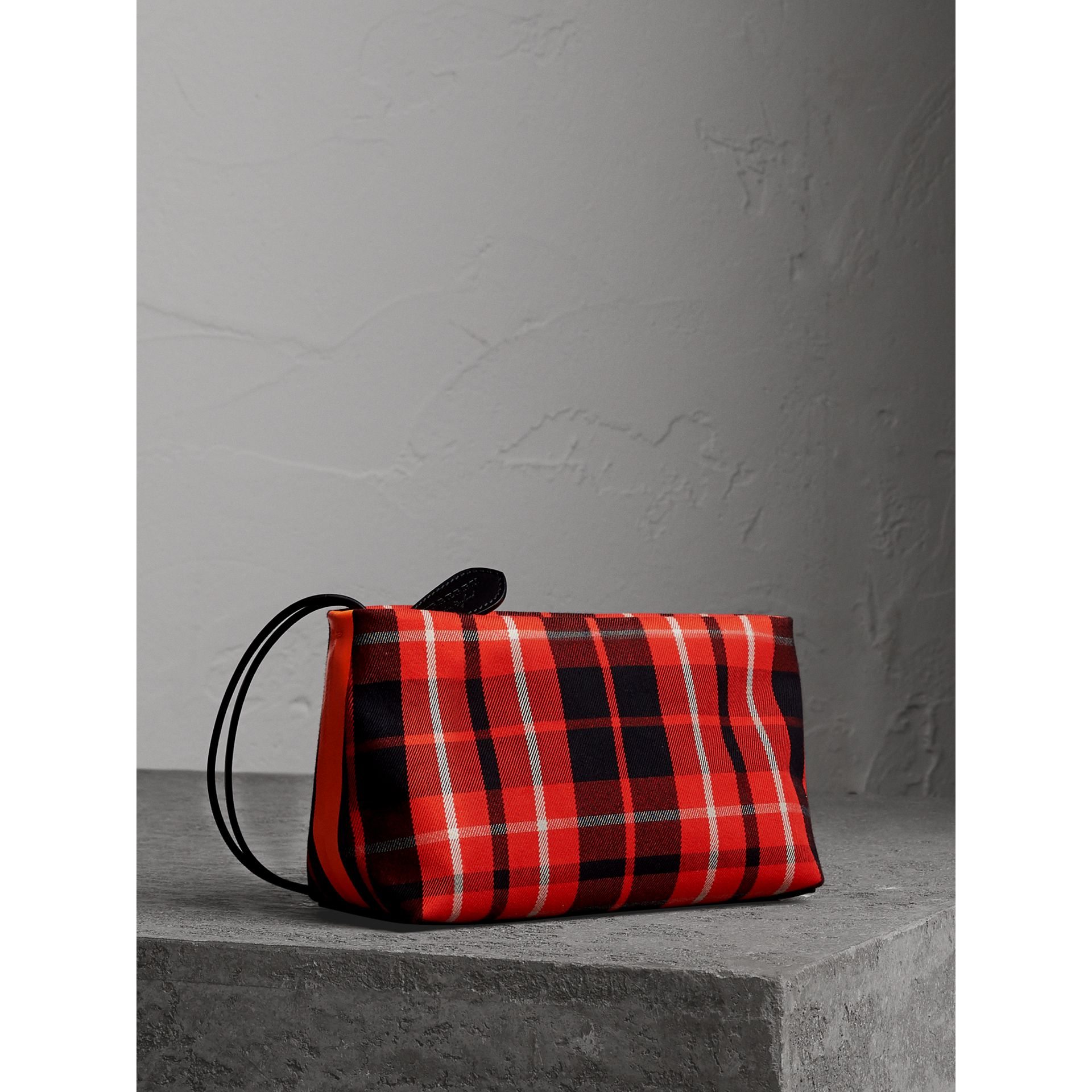 Tartan Cotton Clutch in Vibrant Red/flax Yellow | Burberry Australia - gallery image 1