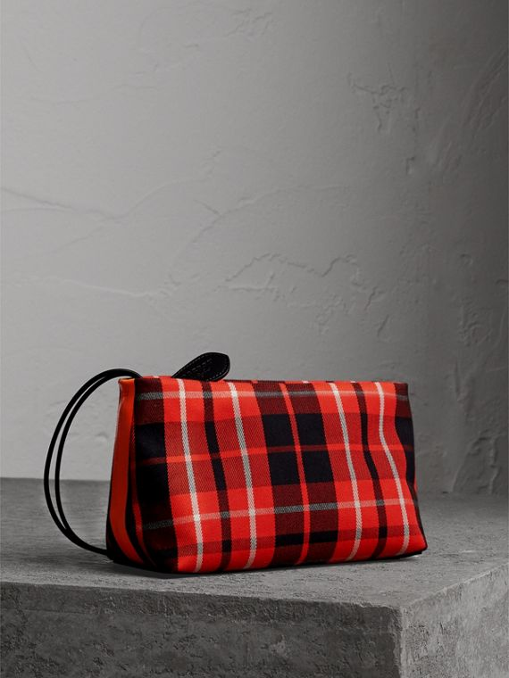 Tartan Cotton Clutch in Vibrant Red/flax Yellow