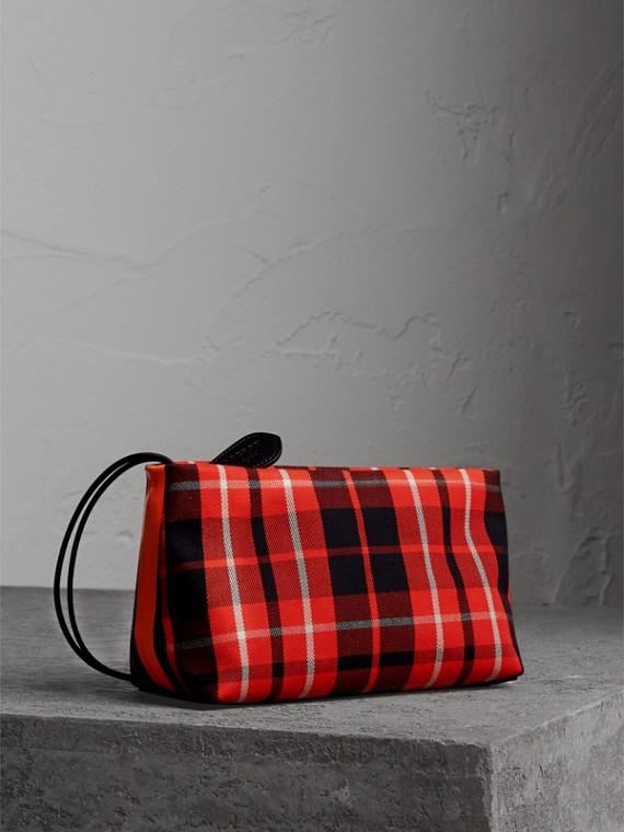 蘇格蘭格紋棉質手拿包 (活潑紅/亞麻黃色)