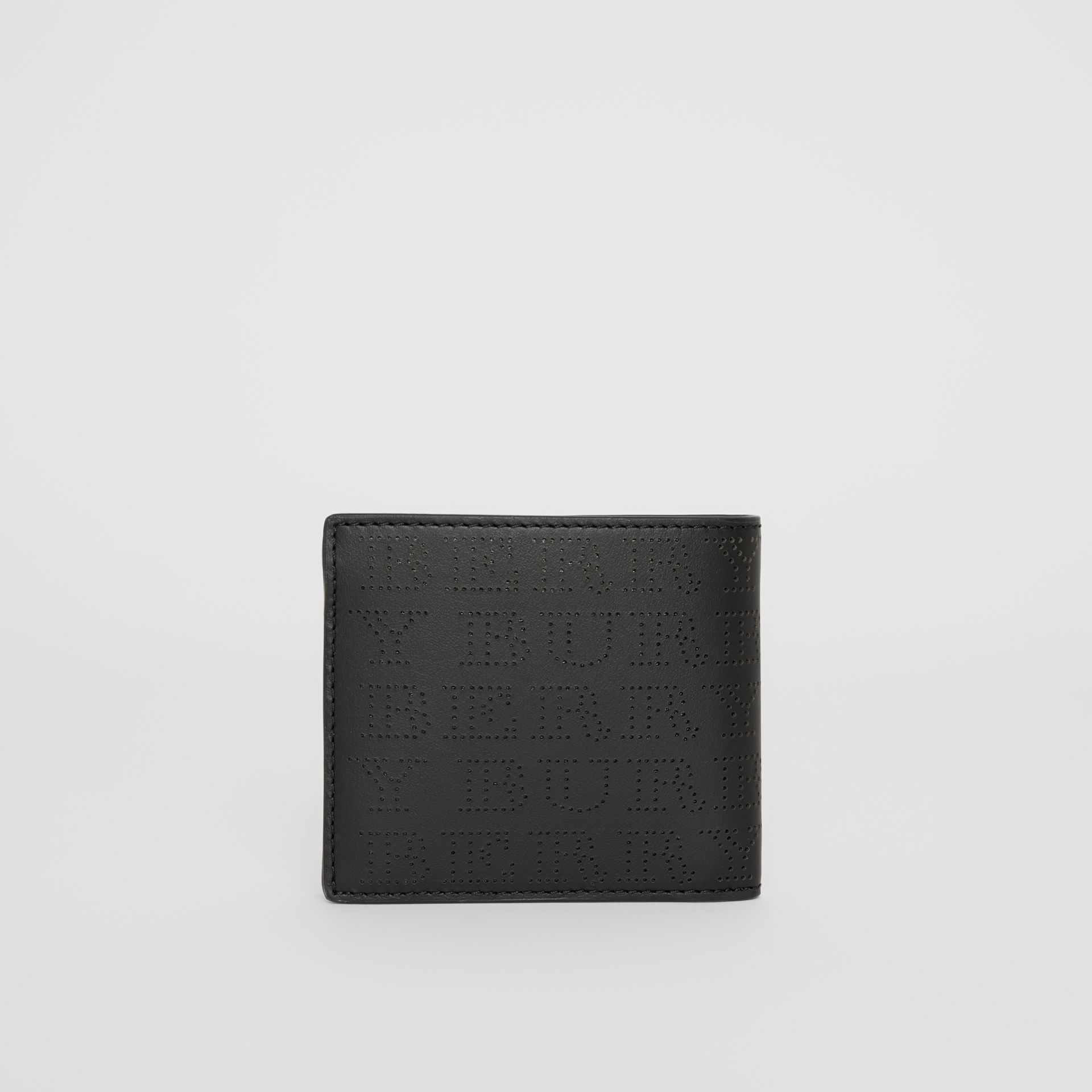 Perforated Logo Leather International Bifold Wallet in Black - Men | Burberry United States - gallery image 5
