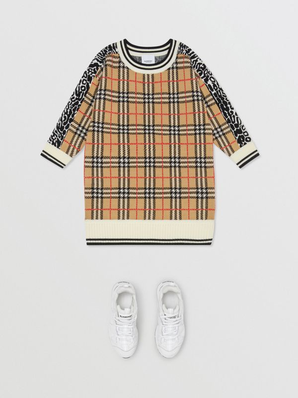 Check and Leopard Merino Wool Sweater Dress in Print | Burberry United Kingdom - cell image 2