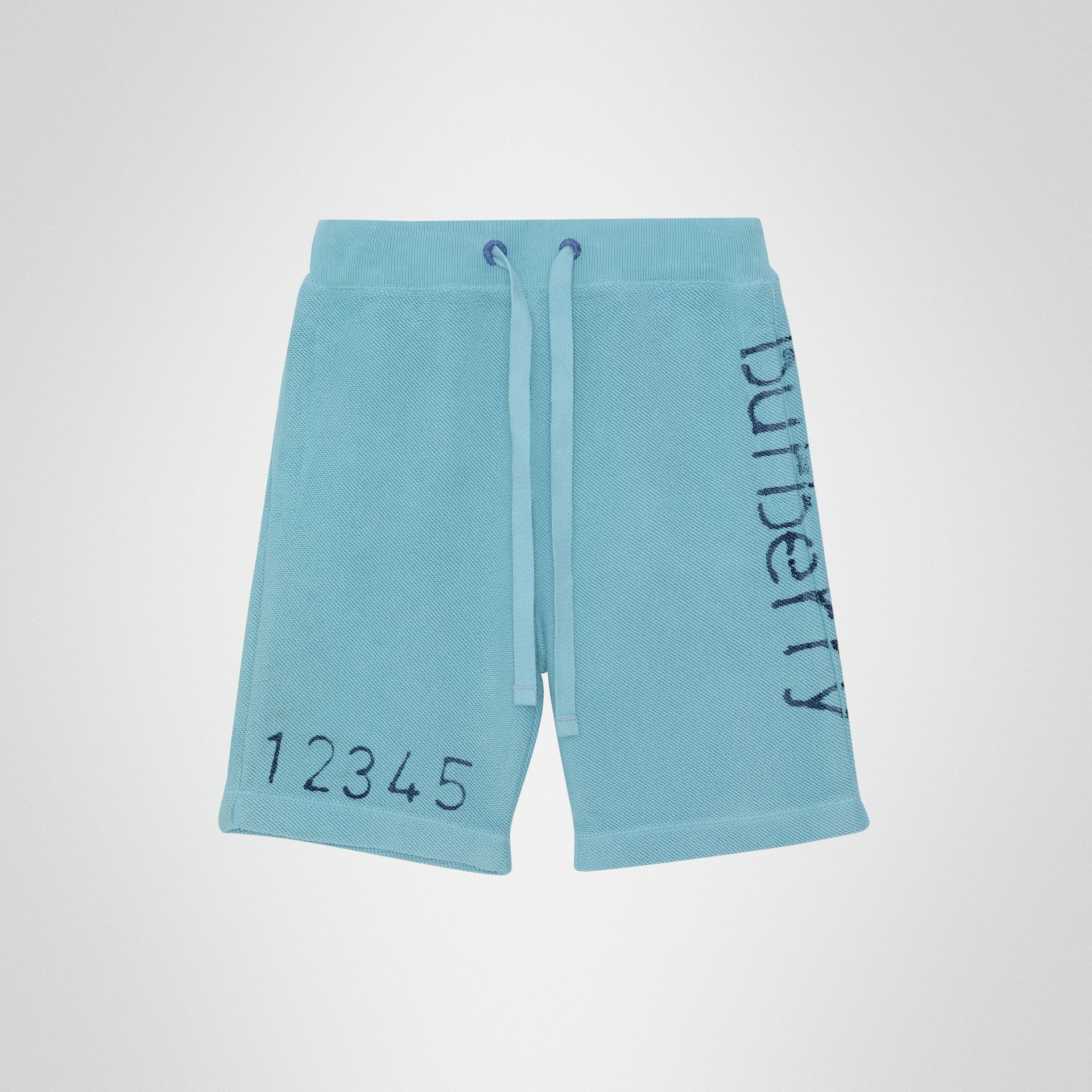 Stencil Logo Print Cotton Drawcord Shorts in Bright Cyan Blue - Children | Burberry - gallery image 0
