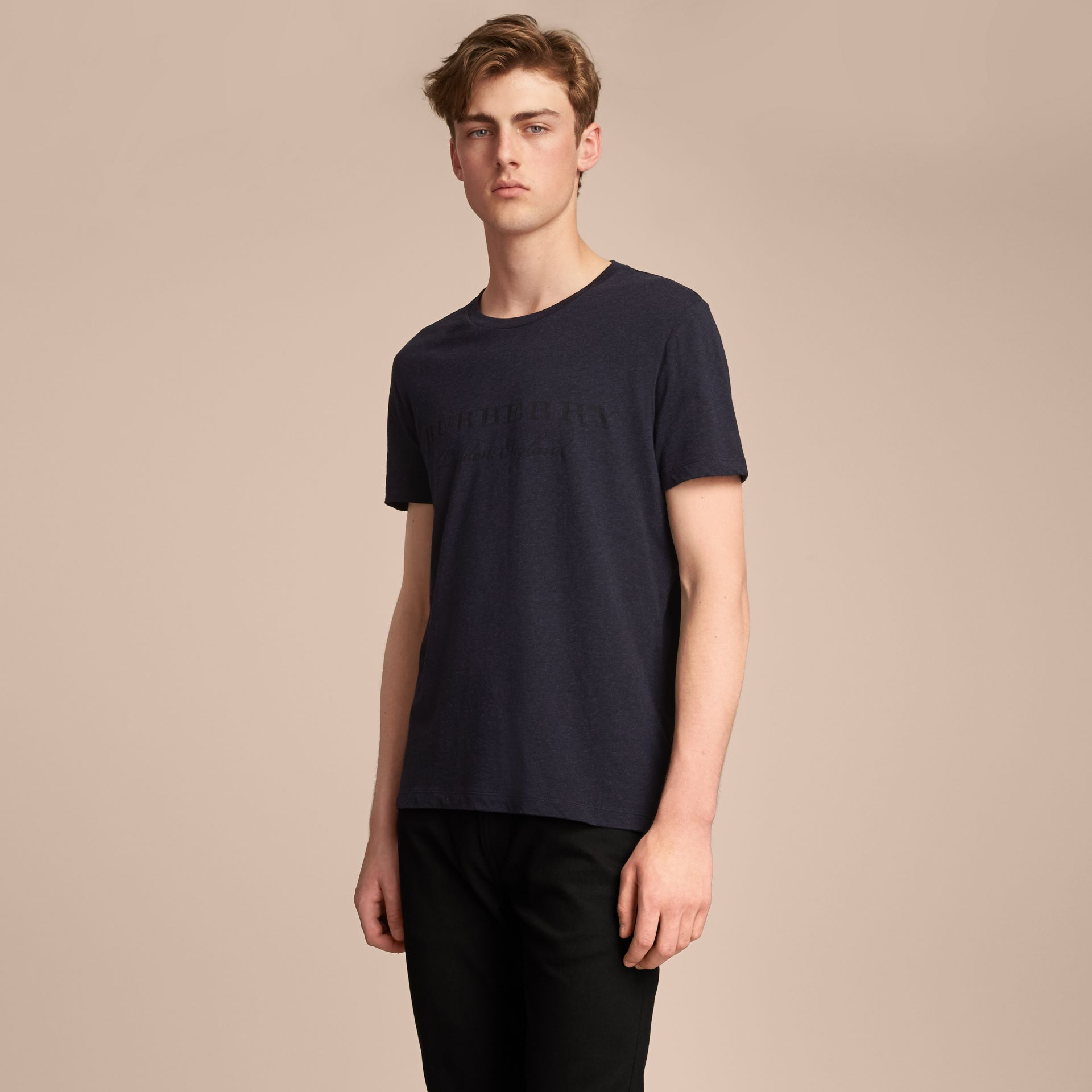Contrast Motif Cotton Blend T-shirt Navy Melange - gallery image 6
