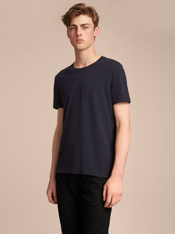 Contrast Motif Cotton Blend T-shirt Navy Melange