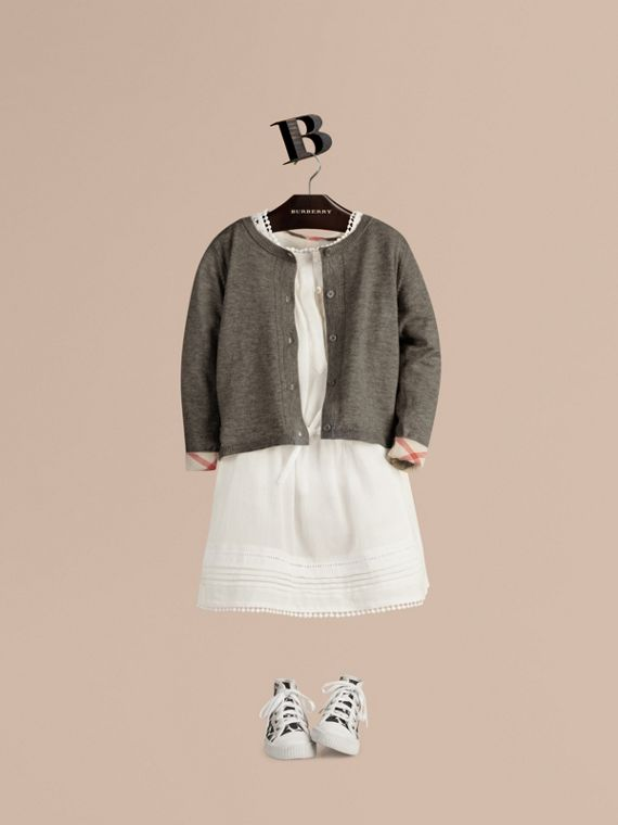 Check Cuff Cotton Knit Cardigan in Pale Grey Melange - Girl | Burberry