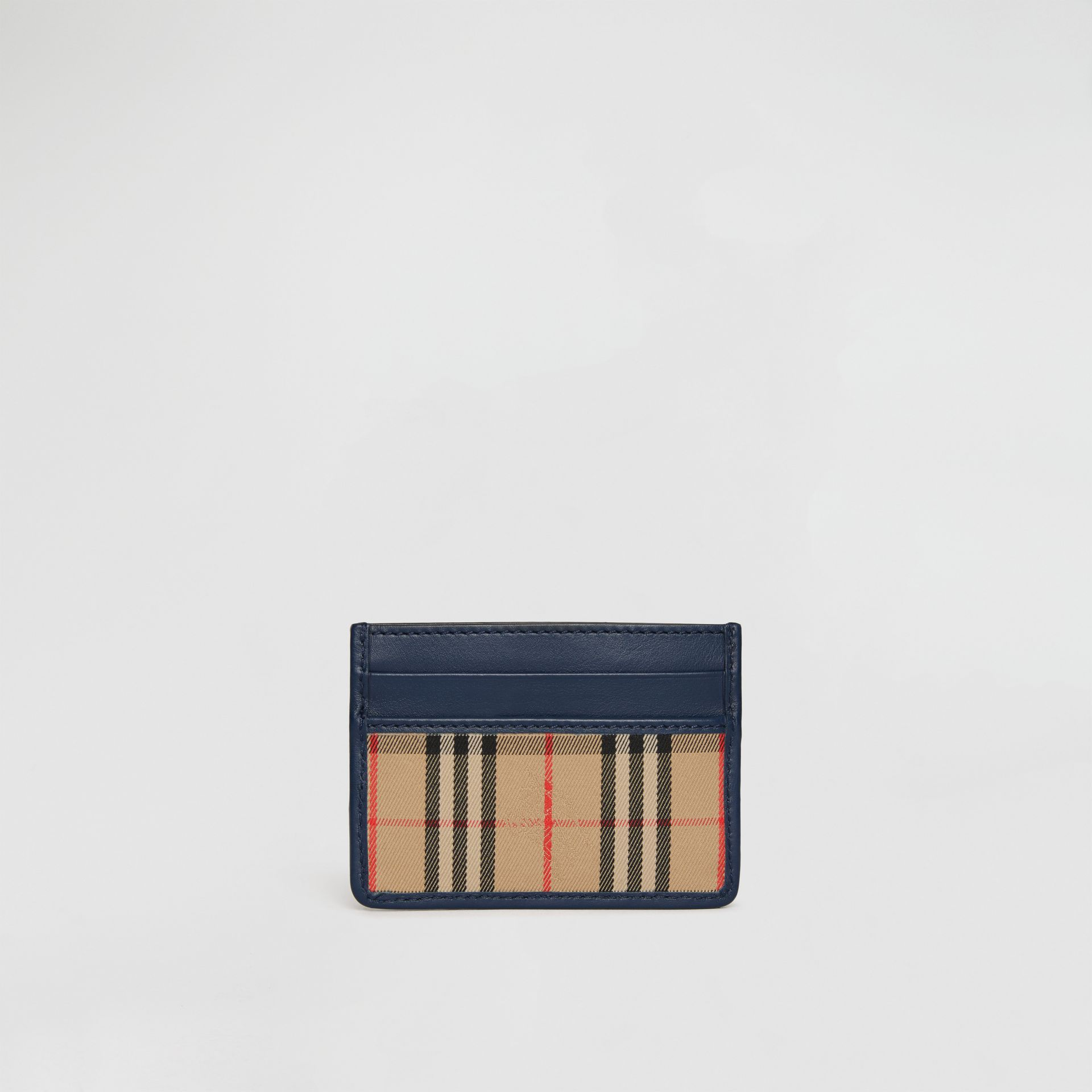 1983 Check and Leather Card Case in Ink Blue - Men | Burberry - gallery image 5