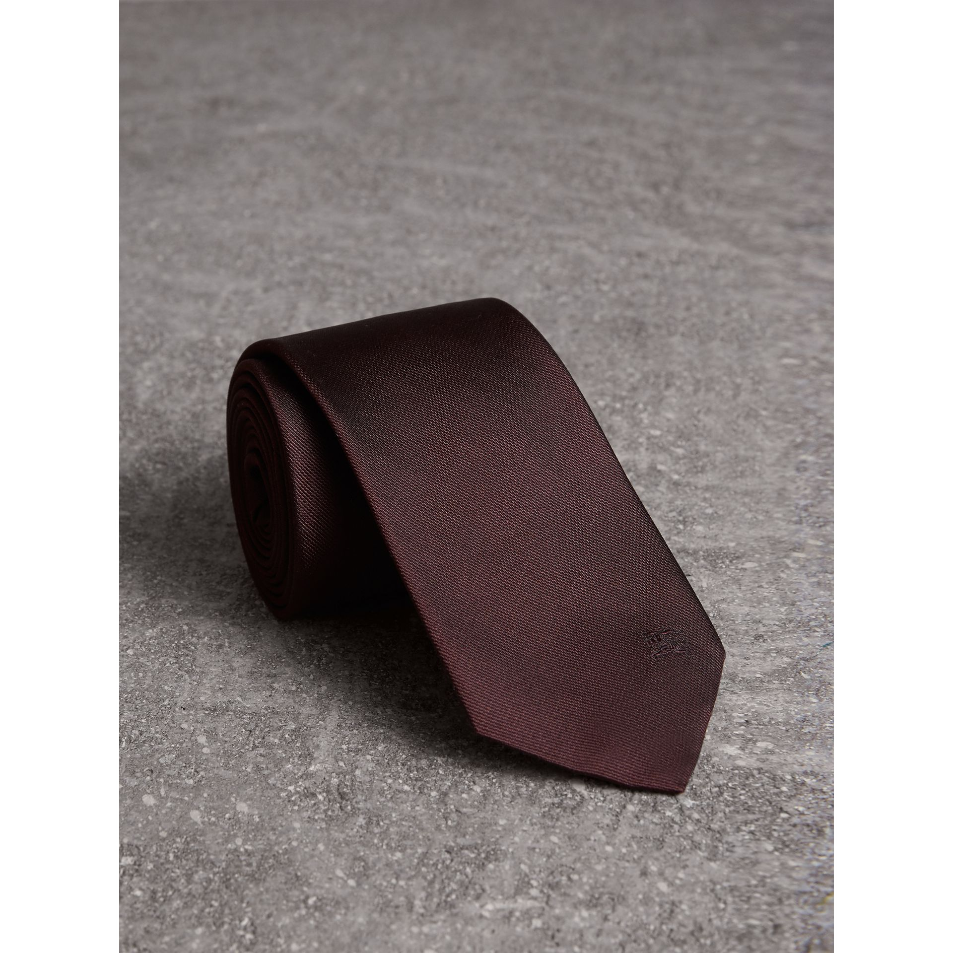 Modern Cut Silk Twill Tie in Deep Claret - Men | Burberry United Kingdom - gallery image 1