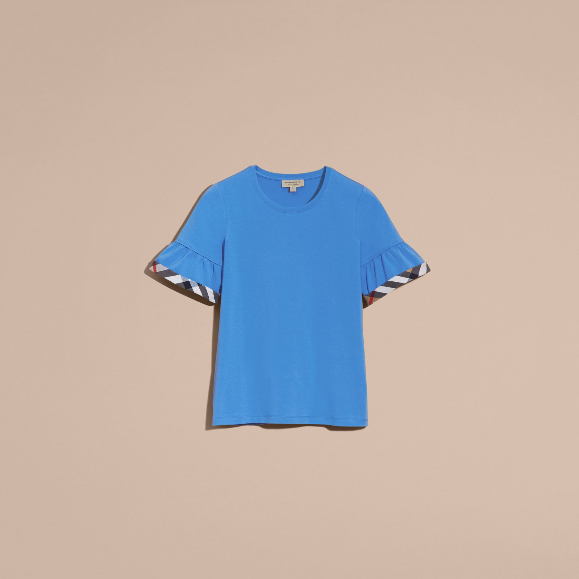 Bright hydrangea blue Stretch Cotton T-shirt with Check Trim Ruffles Bright Hydrangea Blue - gallery image 4