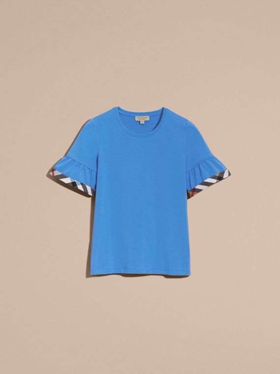 Stretch Cotton T-shirt with Check Trim Ruffles Bright Hydrangea Blue - cell image 3