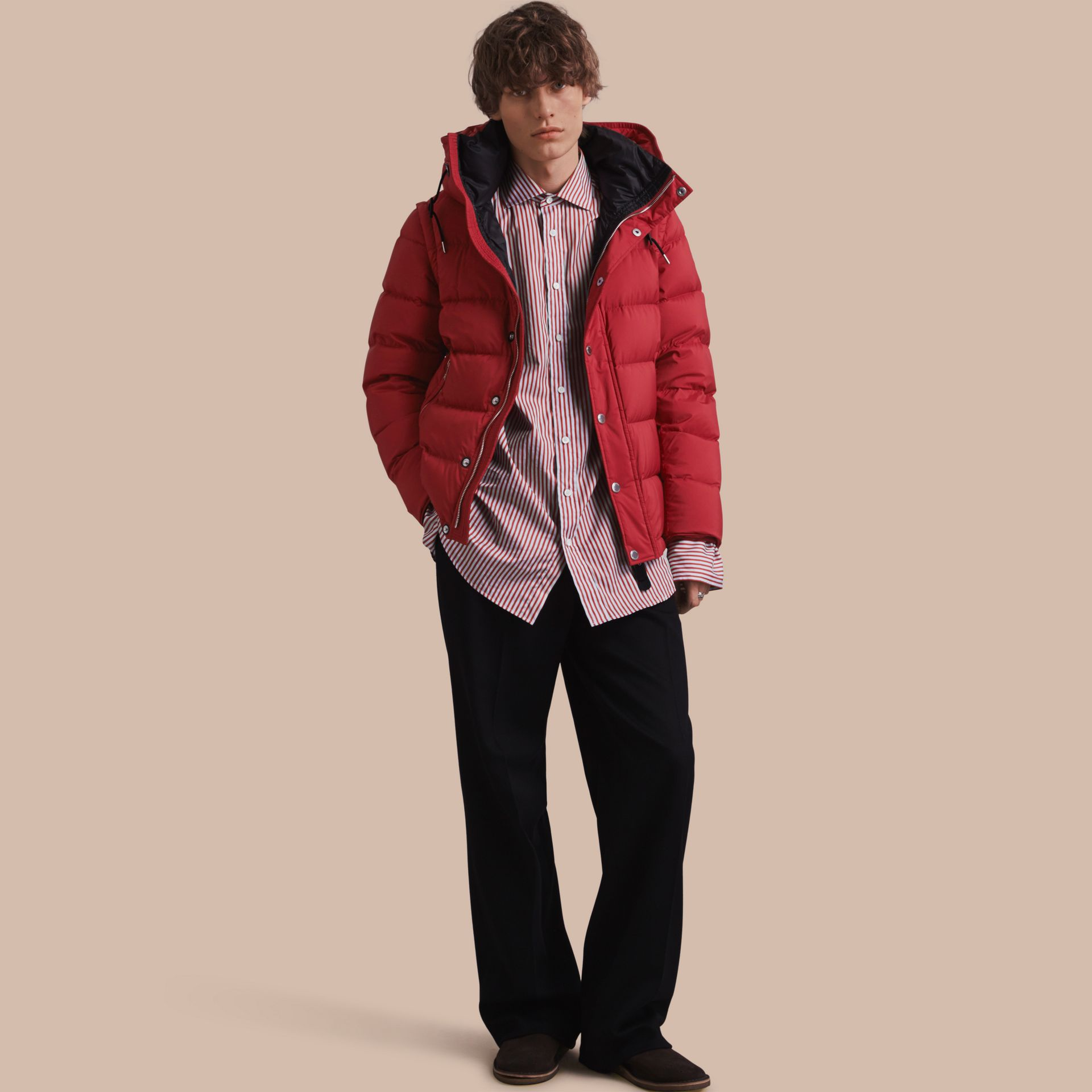 Down-filled Hooded Jacket with Detachable Sleeves in Parade Red - gallery image 1