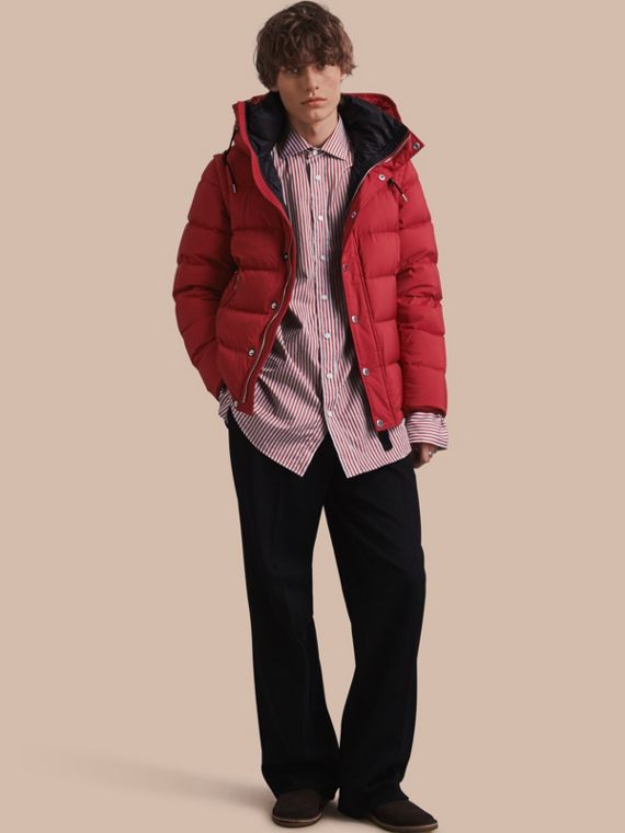 Down-filled Hooded Jacket with Detachable Sleeves Parade Red