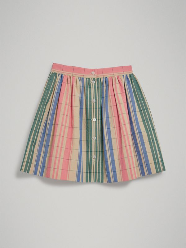 Check Gathered Cotton Skirt in Bright Coral Pink | Burberry - cell image 3