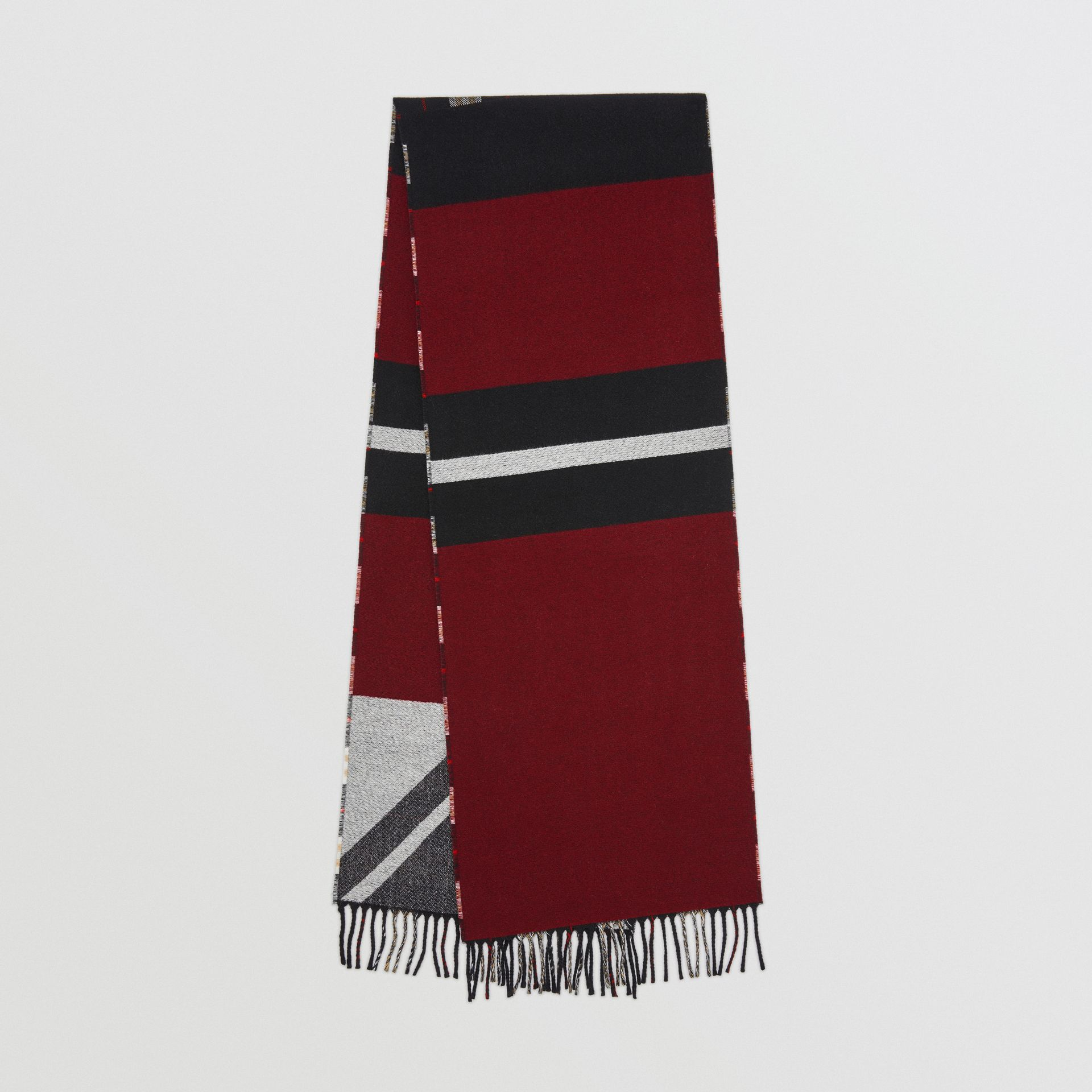 Reversible Stripe and Check Wool Cashmere Scarf in Black | Burberry - gallery image 0
