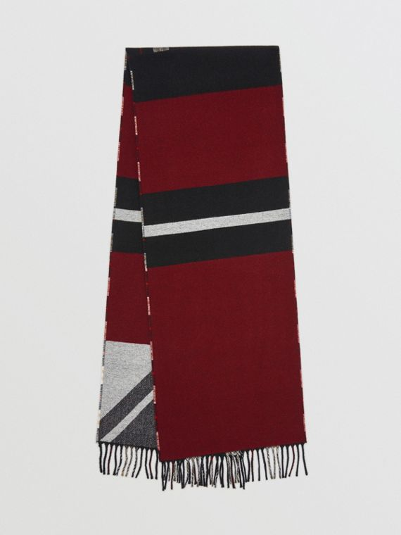Reversible Stripe and Check Wool Cashmere Scarf in Black