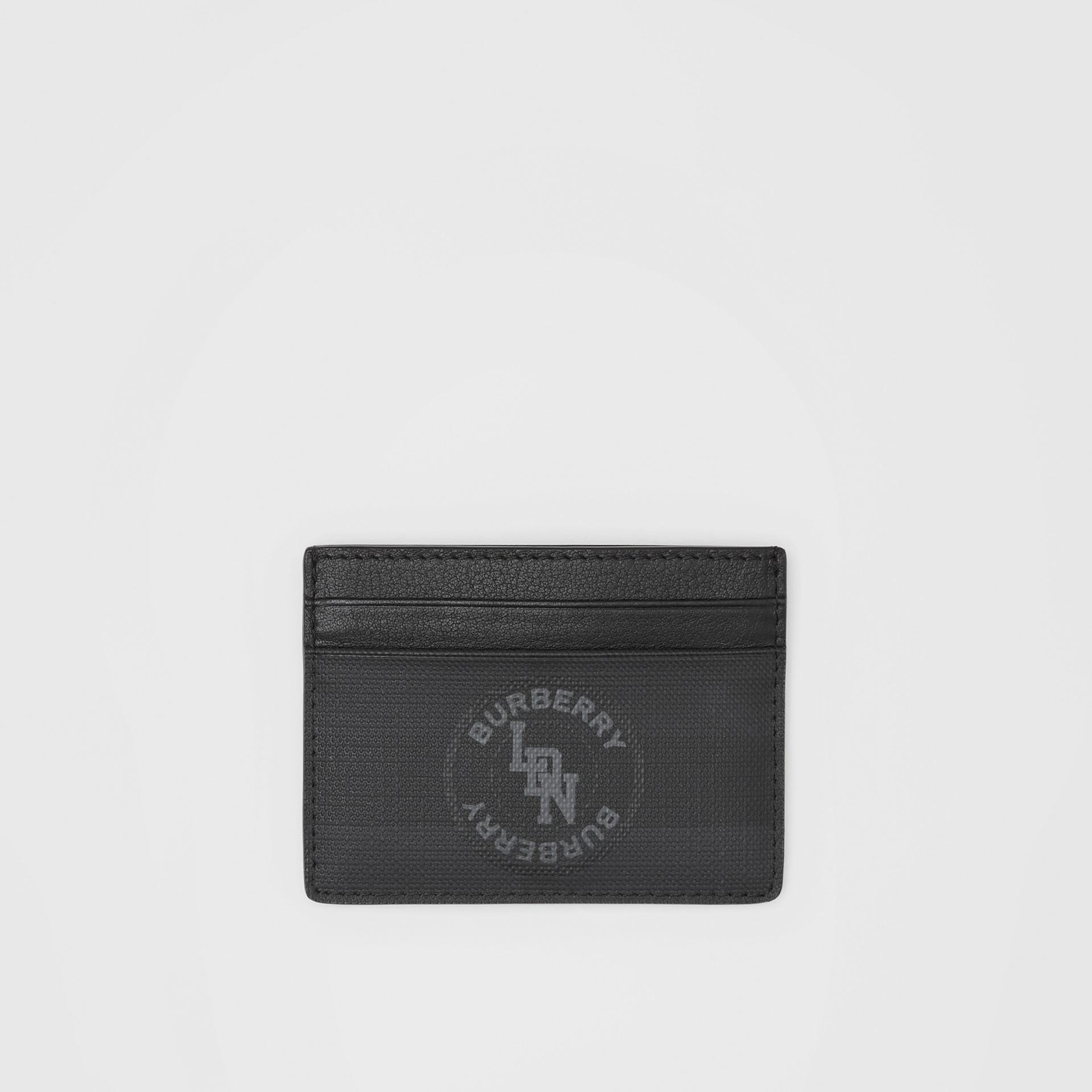 Logo Graphic London Check Card Case in Dark Charcoal - Men | Burberry - gallery image 0