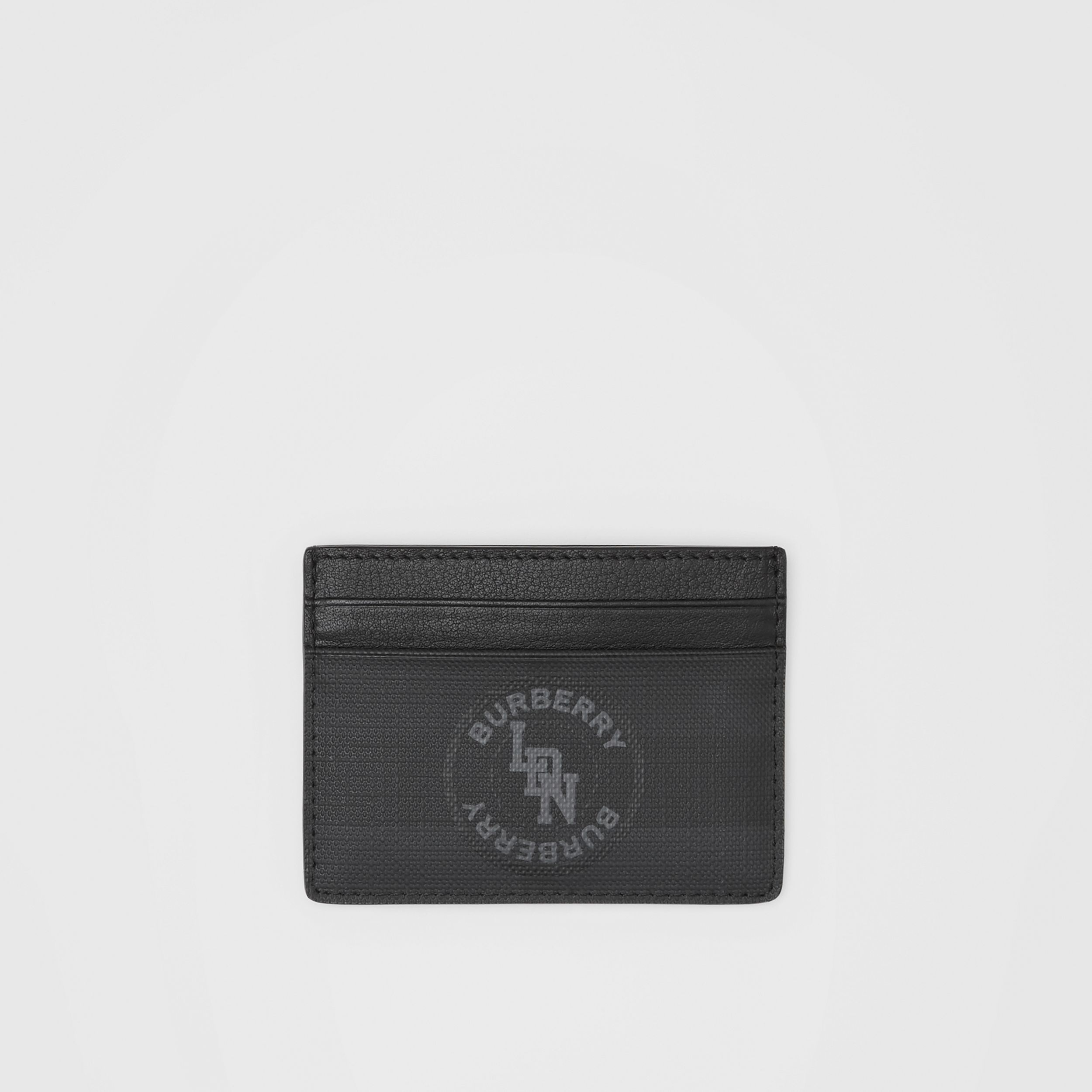Logo Graphic London Check Card Case in Dark Charcoal - Men | Burberry - 1