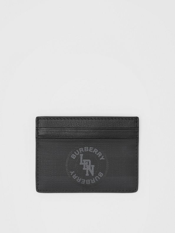 Logo Graphic London Check Card Case in Dark Charcoal