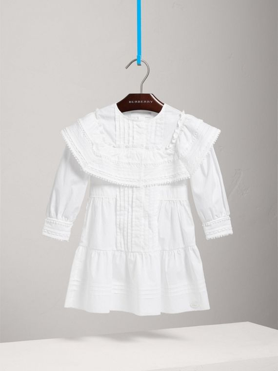 Lace Detail Pleated Cotton Dress in White