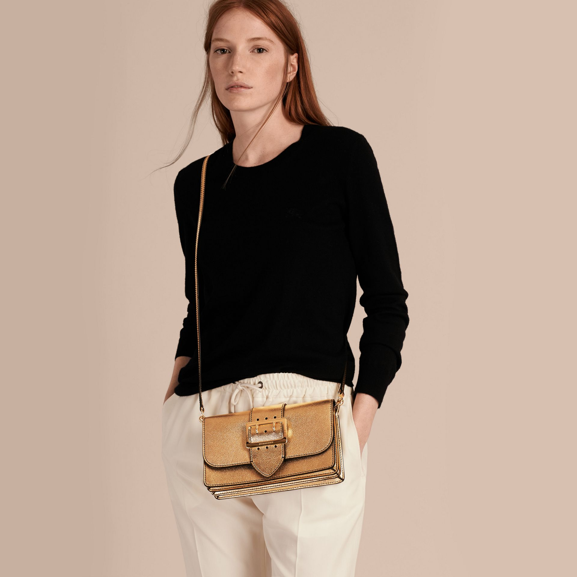 Gold The Medium Buckle Bag in Metallic Leather - gallery image 3