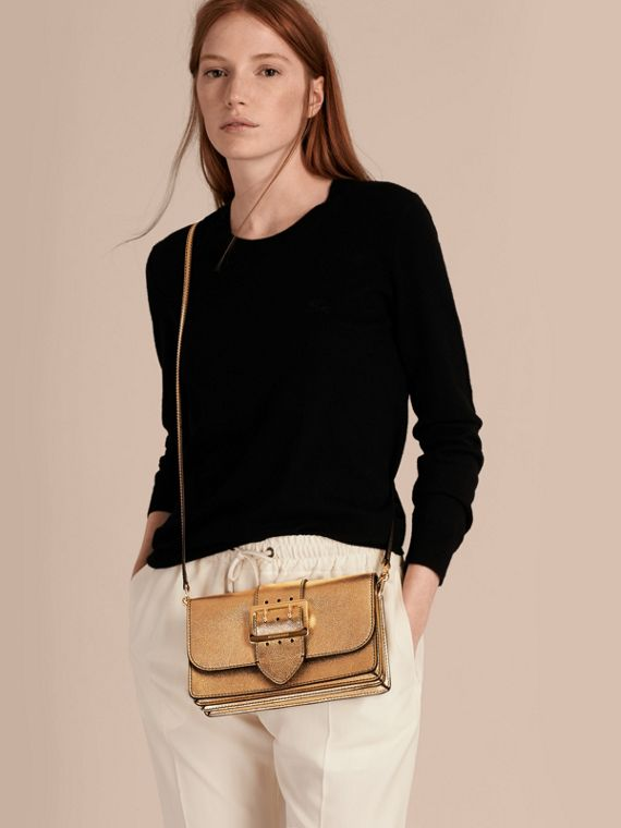 Gold The Medium Buckle Bag in Metallic Leather - cell image 2