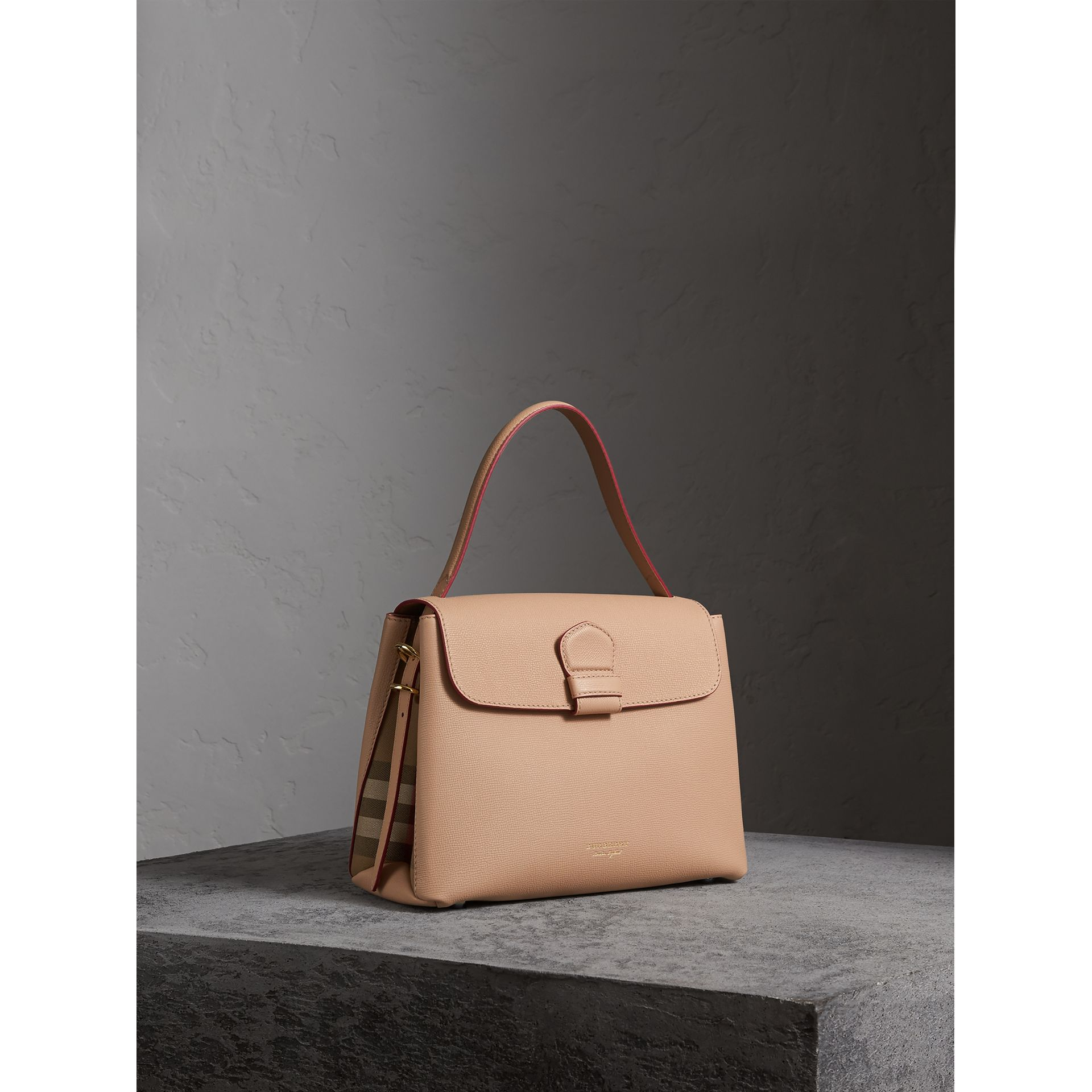 Medium Grainy Leather and House Check Tote Bag in Pale Apricot - Women | Burberry - gallery image 1