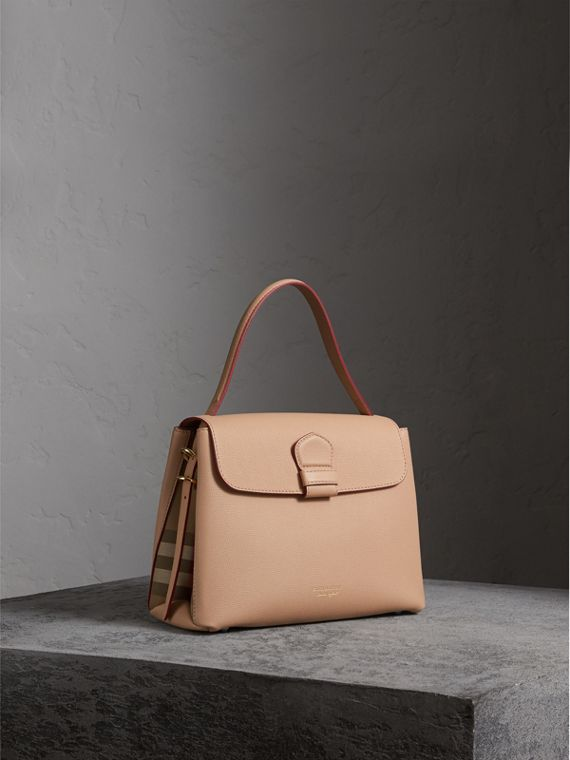 Medium Grainy Leather and House Check Tote Bag in Pale Apricot