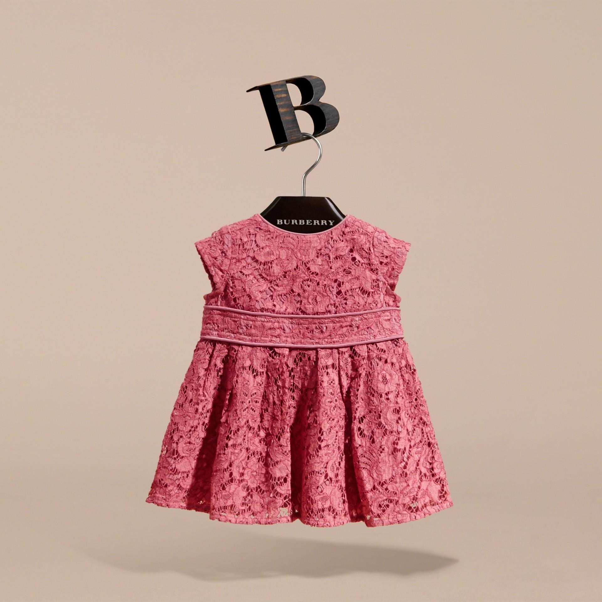Cap Sleeve Macramé Lace Dress in Pink Azalea | Burberry - gallery image 3