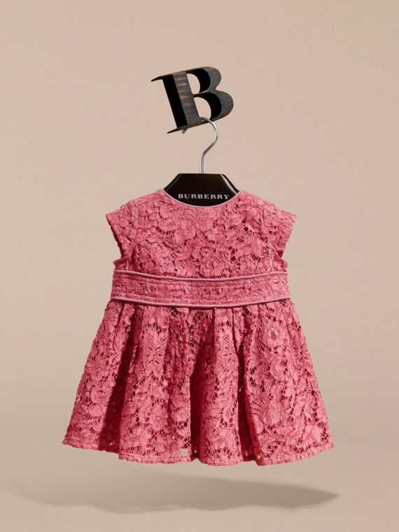 Cap Sleeve Macramé Lace Dress in Pink Azalea | Burberry - cell image 2