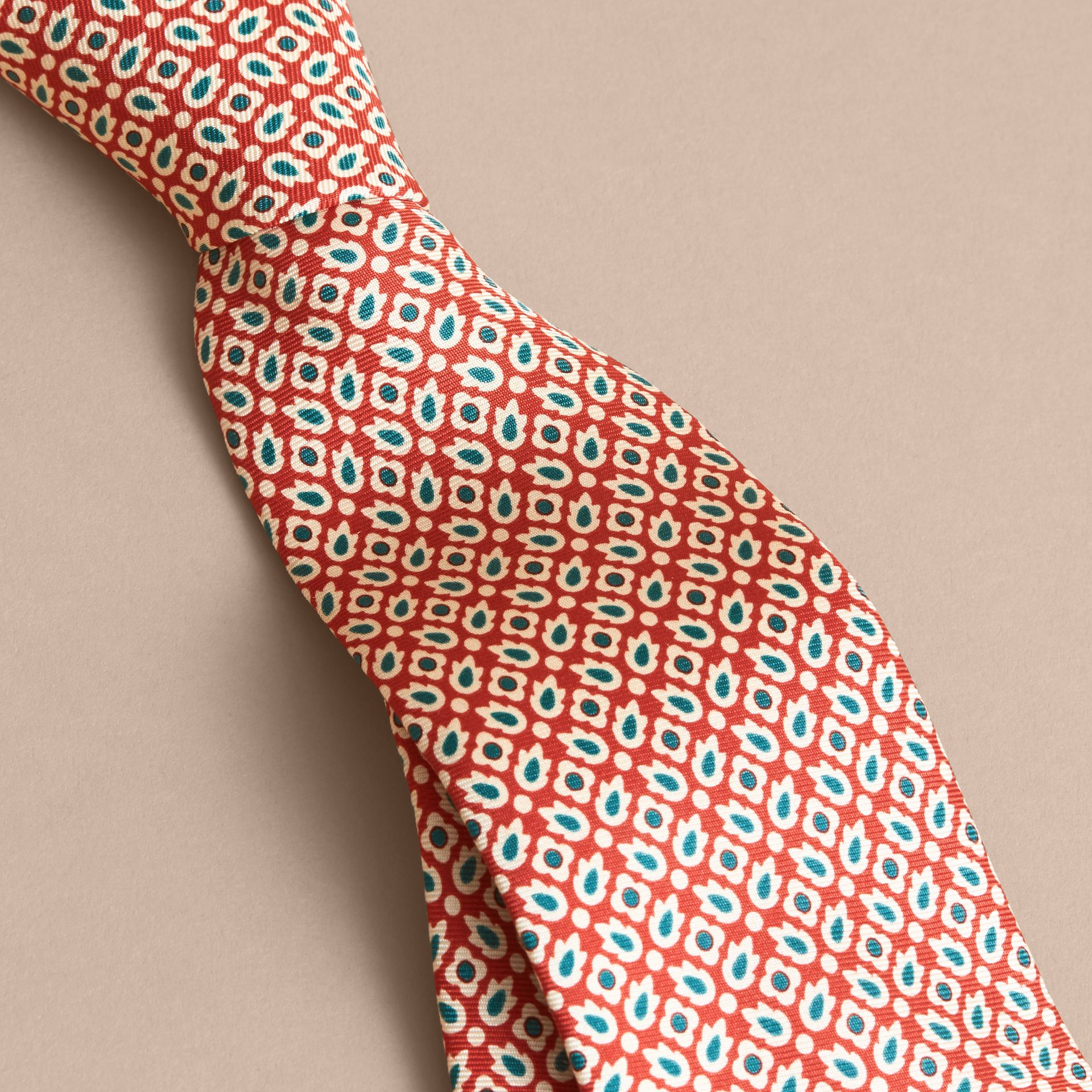 Slim Cut Abstract Floral Silk Tie in Military Red - Men | Burberry - gallery image 2