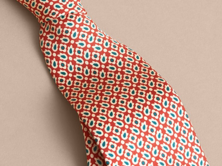 Slim Cut Abstract Floral Silk Tie in Military Red - Men | Burberry - cell image 1