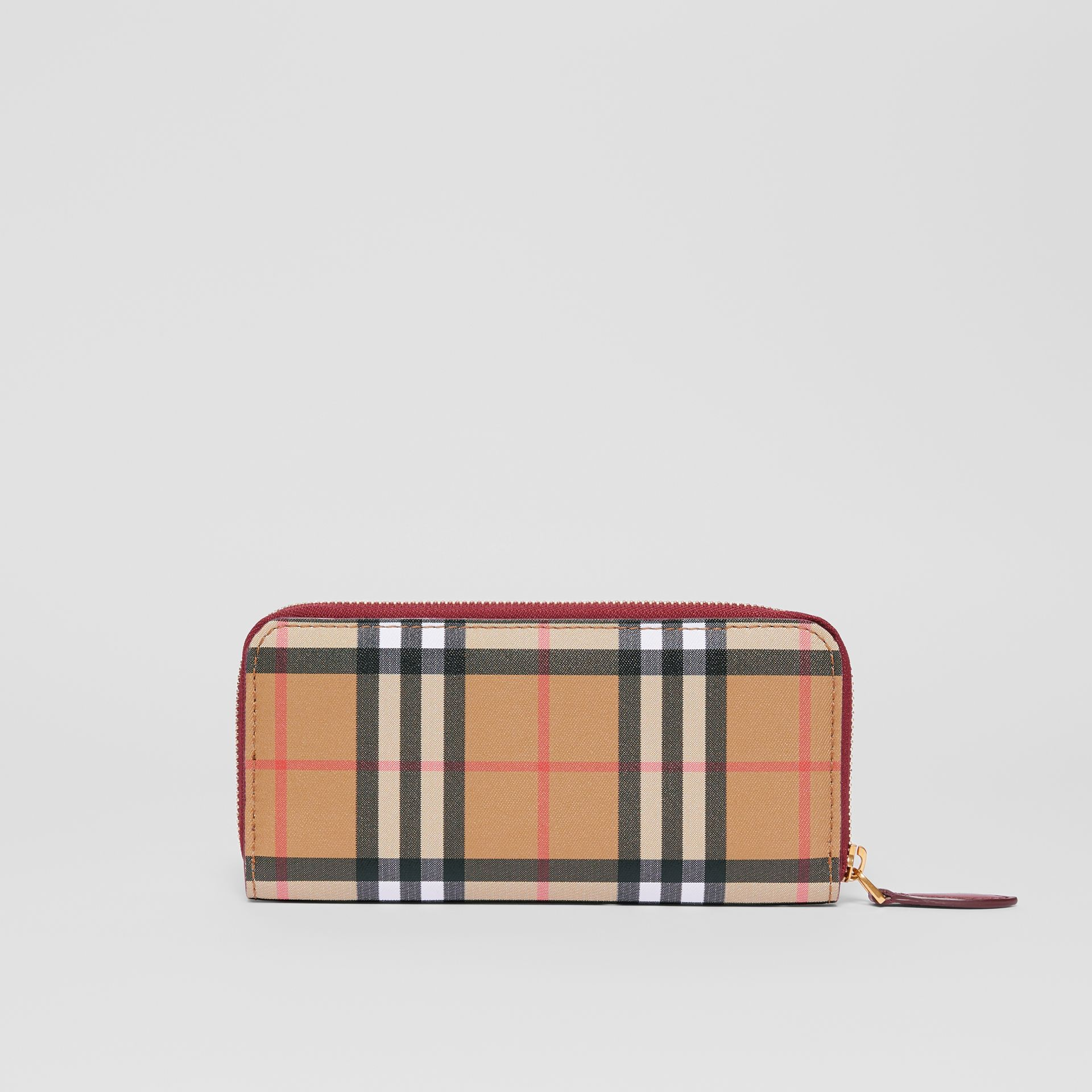 Vintage Check and Leather Ziparound Wallet in Crimson - Women | Burberry Singapore - gallery image 5