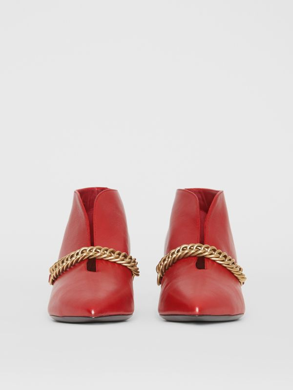 Link Detail Leather Ankle Boots in Claret - Women | Burberry United Kingdom - cell image 3