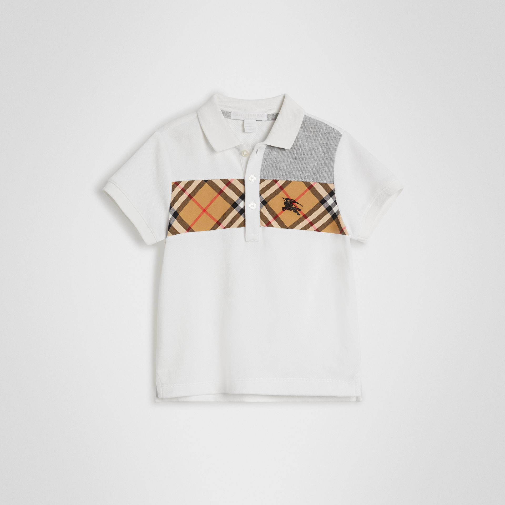 Vintage Check Panel Cotton Polo Shirt in White | Burberry Singapore - gallery image 0