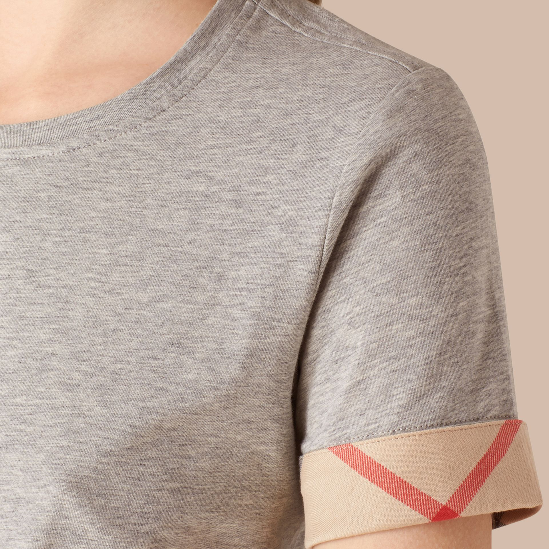 Check Cuff Stretch Cotton T-Shirt in Pale Grey Melange - gallery image 4