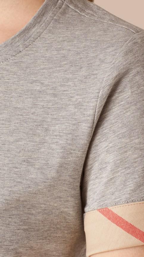 Pale grey melange Check Cuff Stretch Cotton T-Shirt Pale Grey Melange - Image 4