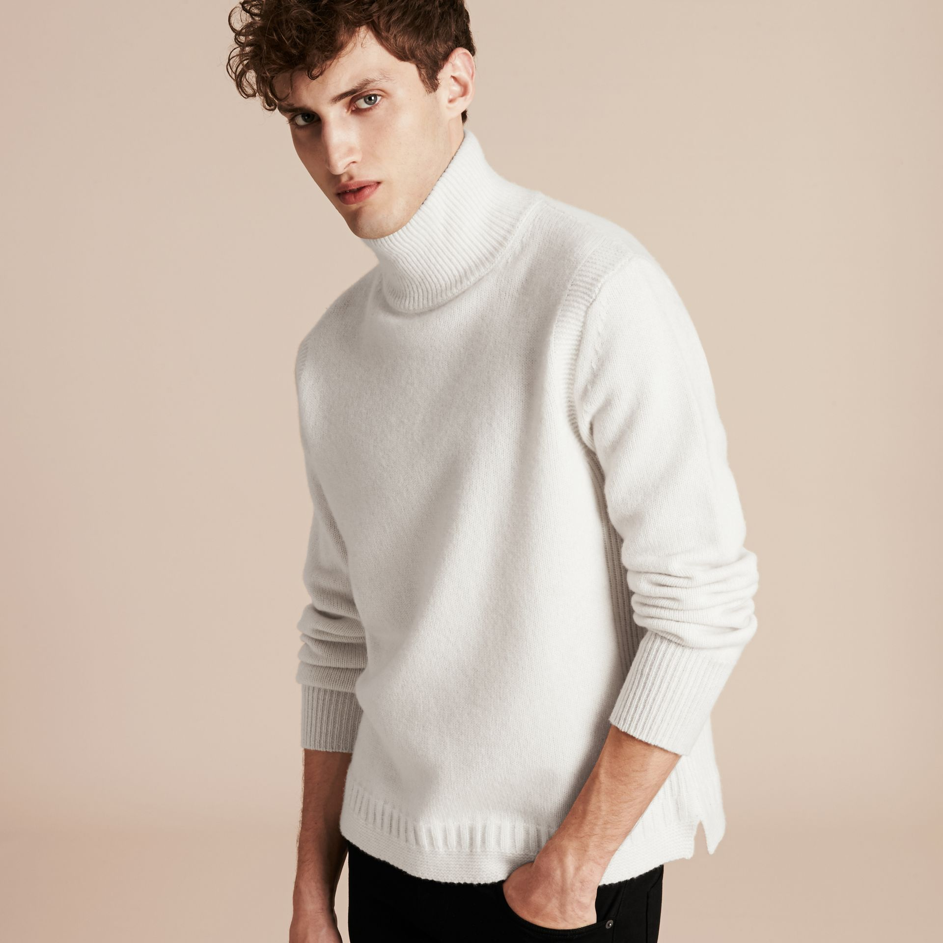 Natural white Funnel Neck Wool Sweater Natural White - gallery image 6