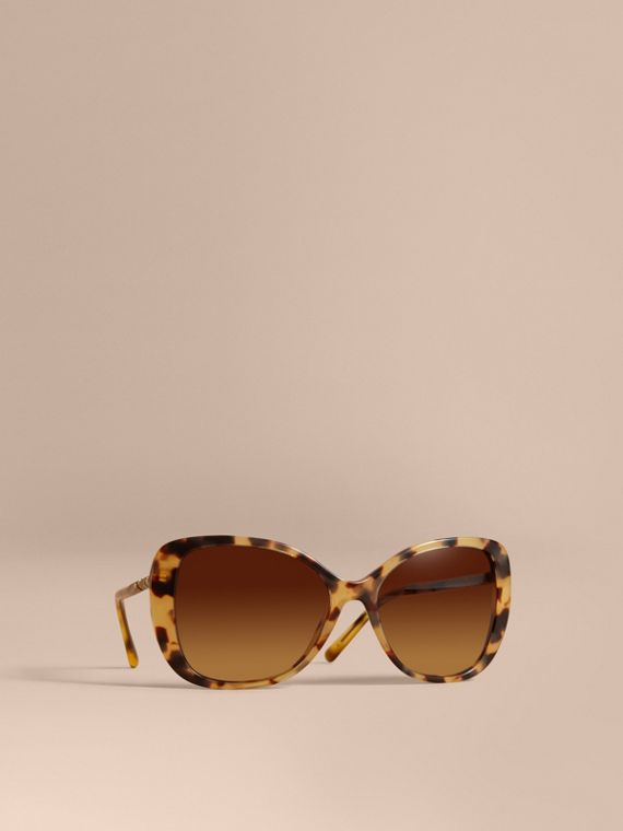 Check Detail Butterfly Frame Sunglasses Umber Yellow