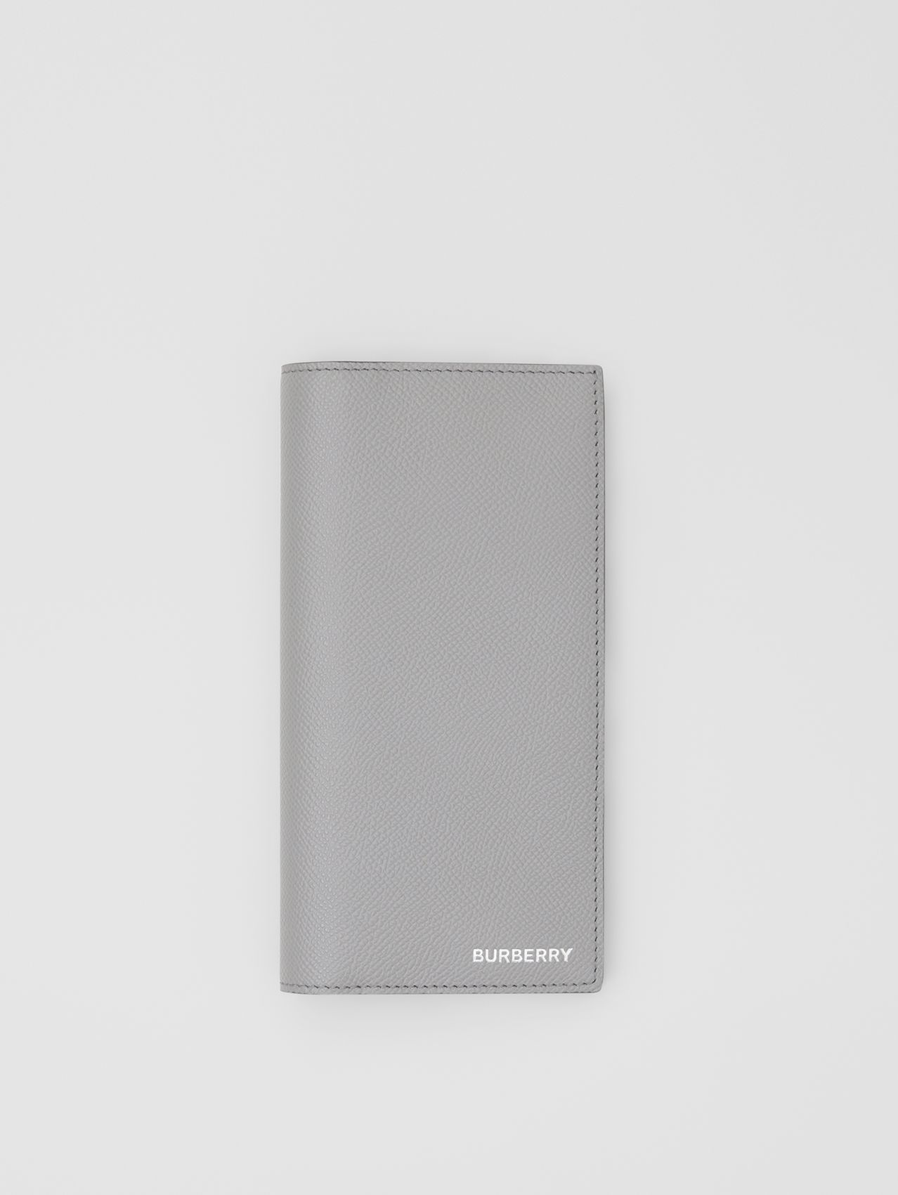 Grainy Leather Continental Wallet in Cloud Grey