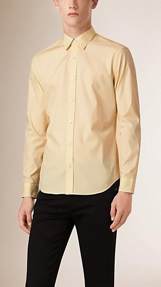 Check Detail Stretch Cotton Poplin Shirt