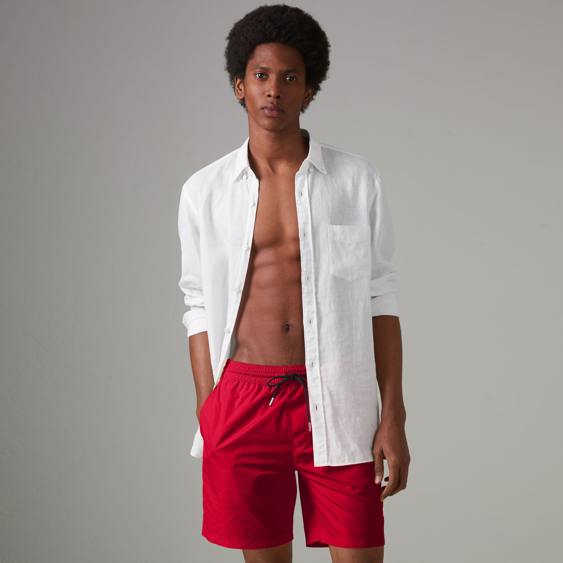 Drawcord Swim Shorts in Parade Red - Men | Burberry Australia - gallery image 0