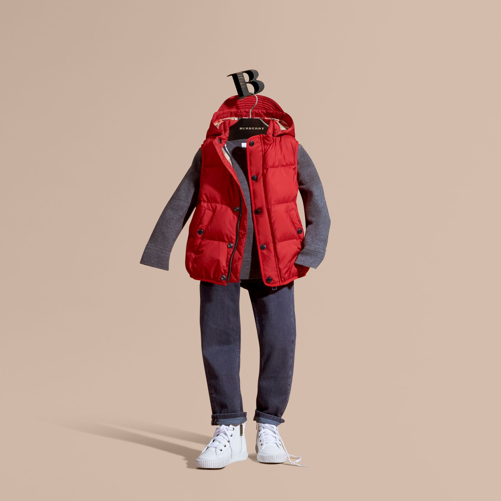 Military red Down-filled Hooded Gilet Military Red - gallery image 1