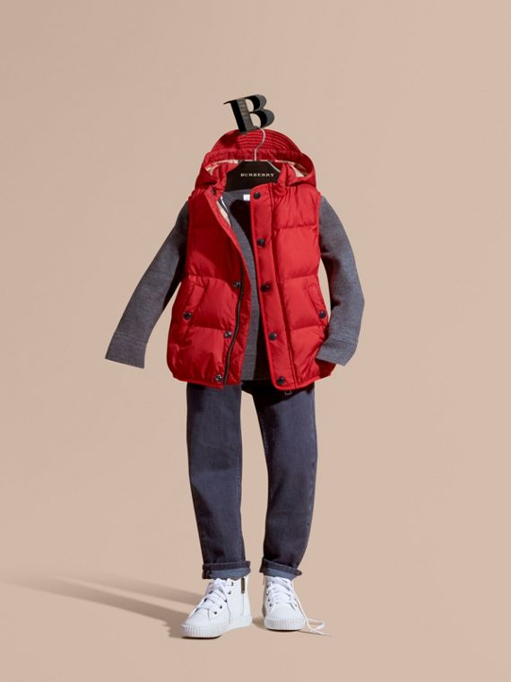 Down-filled Hooded Gilet Military Red